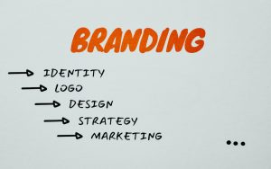 Branding written in red text with tiers of brand marketing beneath
